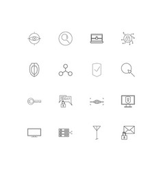 Internet security linear thin icons set outlined vector