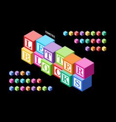isometric colorful letter blocks alphabet vector image