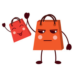 kawaii gifts shop bag cartoon comic vector image