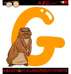 letter g for gopher cartoon vector image
