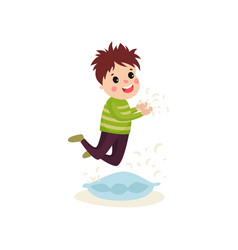 Little naughty kid boy jumping on the pillow vector