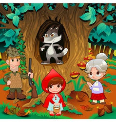 Little Red Hiding Hood scene vector image