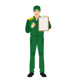 Man in uniform giving pen for your signature on vector