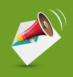 Megaphone in envelope icon e-mail and speaker vector