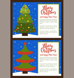 Merry christmas happy new year posters with tree vector