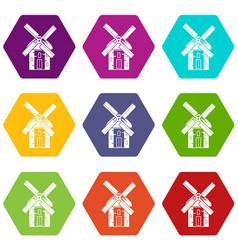 Mill icon set color hexahedron vector