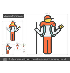 Mountain tourism line icon vector