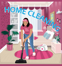 Nanny vacuums children room vector