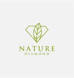 nature diamond logo diamond with leaf logo vector image