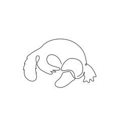one single line drawing smart unique platypus vector image
