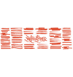 orange highlight brush lines marker color stroke vector image