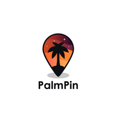palm tree pin in beautiful night logo icon vector image