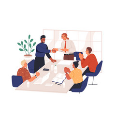 people congratulate colleague at meeting in office vector image