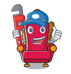 Plumber king throne mascot cartoon vector
