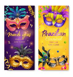 realistic carnival mask vertical banner set vector image