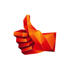Red low poly thumb up icon on a white background vector