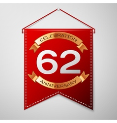 Red pennant with inscription Sixty two Years vector