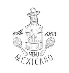 restaurant mexican food menu promo sign in sketch vector image