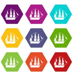 sailboat icons set 9 vector image