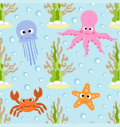 Sea animals seamless background card vector