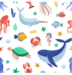 Seamless pattern with funny marine animals vector