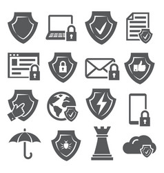 secure and shield icons on white background vector image