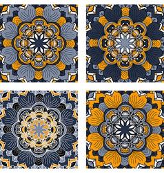 set colorful abstract circular floral patterns vector image
