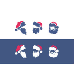 set icons or logos with santa claus vector image