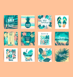 Set of summer tropical designs templates vector