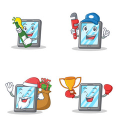 Set of tablet character with beer plumber winner vector