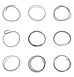 set of the hand drawn scribble circles line vector image