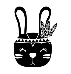 Silhouette cute rabbit head animal with feathers vector