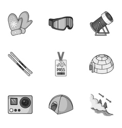 Ski resort set icons in monochrome style big vector