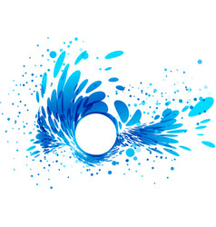 Splashing water with white circle frame vector