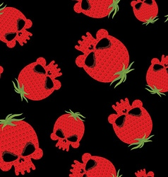 Strawberry skull seamless pattern Red head vector image