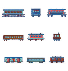 subway train metro icons set cartoon style vector image