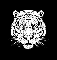Tiger head white vector