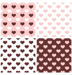 Tile hearts pink white brown background set vector image