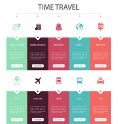 Time to travel infographic 10 steps ui design vector