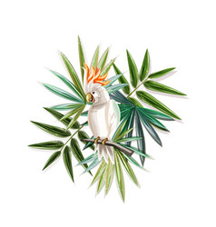 tropical plants with cockatoo vector image