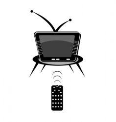 TV with remote vector image