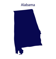 United states alabama dark blue silhouette vector