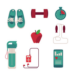 various sport equipment set with flat vector image