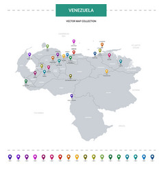 venezuela map with location pointer marks vector image