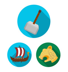 Vikings and attributes flat icons in set vector