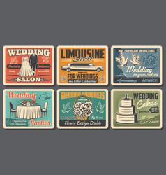 wedding service vintage posters bride dress salon vector image