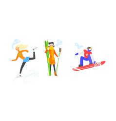 winter sports activities set skiing figure vector image