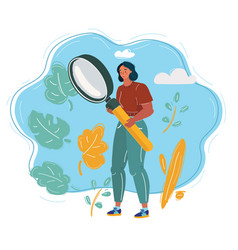 Woman analyst holding magnifier glass om blue vector