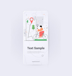 woman riding bike using mobile gps navigation app vector image