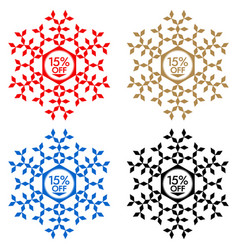 15 off discount sticker snowflake 15 off sale vector image